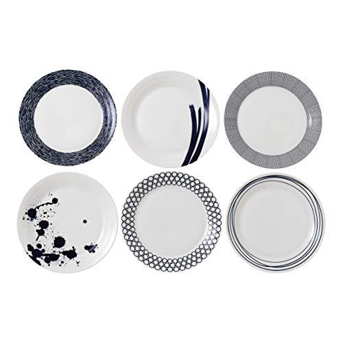 Pacific par Royal Doulton Assiette 28 cm Lot de 6-New, Porcelaine, Bleu, 28.7 x 28.7 x 3.1 cm