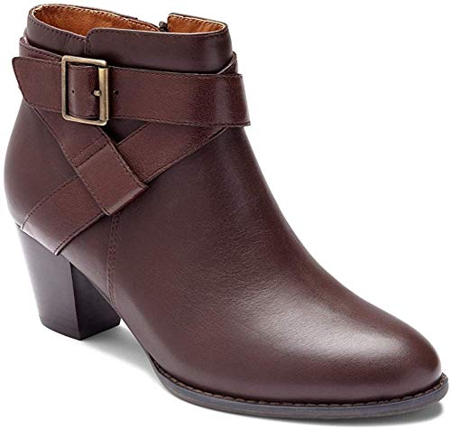 Vionic Women's Upright Trinity Ankle Boot - Ladies Boots with Concealed Orthotic Arch Support Chocolate 5 M US