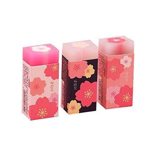 Bciou - Juego de 3 gomas de borrar de goma con diseño de flores de cerezo y pétalos de sakura, herramienta de corrección para la escuela, oficina, suministros de papelería
