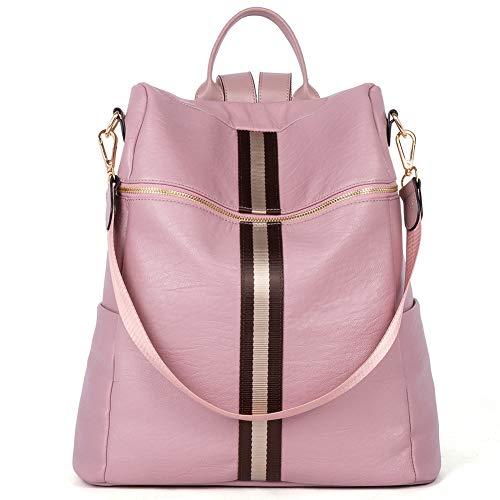 CLUCI Rucksack Damen Leder Mode Reiserucksack Groß Kapazität Designer Schultertasche Rucksackhandtasche Frauen 2 in 1 Rosa