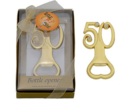 Yansanido 12pcs 50 Birthday Party Favors Bottle Opener, Rhinestones 50th Birthday Wedding Anniversary Favor Gift Keepsake Souvenir Birthday Party Gift Decoration