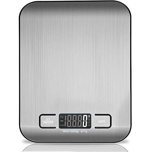 VIBOOS Digitale Küchenwaage, 5 kg elektronische Kochwaage aus Edelstahl,stilvolle ultradünne Lebensmittelwaage, elektronische Kochwaage für Zuhause und Küche mit LCD-Display