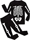 Toddler Boys Halloween Pajama Set Skeleton Glow in The Dark 2 Piece Pjs (1# Skeleton Glow in Dark/Black, 3T)