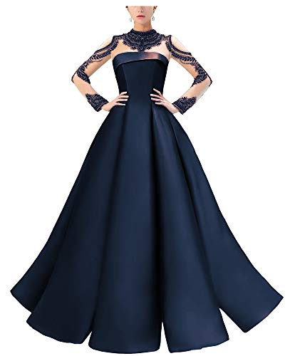 Eilemy Women's High Neckline Illusion Beaded Formal Evening Gown A-line Ball Gown with Long Sleeve Navy Blue US2 (Apparel)