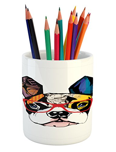 Lunarable Art Pencil Pen Holder, French Bulldog Portrait with Hipster Glasses Abstract Modern Colorful Ears and Eyes, Printed Ceramic Pencil Pen Holder for Desk Office Accessory, Multicolor