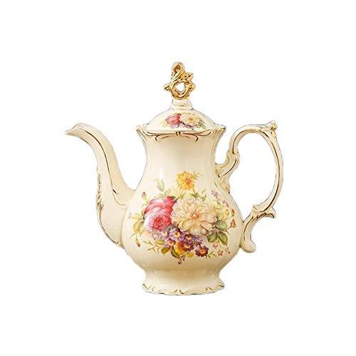 Floral de la tetera, tetera de la porcelana, de cerámica de la vendimia floral tetera 1100 ml de agua del arte for el regalo de café del pote pote del jardín Estilo (Color : A)