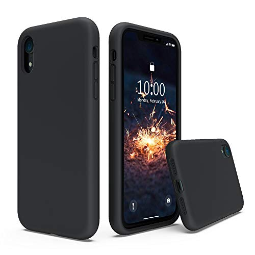 xhorizon iphone 5 cases SURPHY Silicone Case Compatible with iPhone XR Case, Soft Liquid Silicone Shockproof Phone Case (with Microfiber Lining) Compatible with iPhone XR (2018) 6.1 inches (Black)