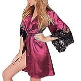 JERFER Lencería Mujer Seda Sexy Kimono Vestidos Encaje Babydoll Cinturón Bañera Bata de Dormir Type A