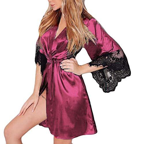 Dasongff dames ochtendjas Kimono satijn korte robe badjas nachtkleding sleepwear V-hals met riem kanten patchwork badjas Robe XXL rood