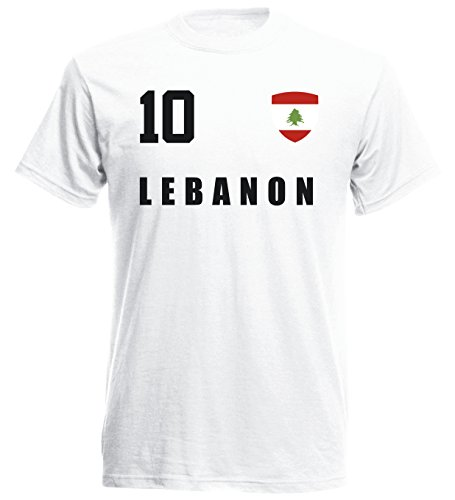 Libanon WM 2018 T-Shirt Fußball Trikot Street - Weiss ALL-10 - S M L XL XXL (2XL)