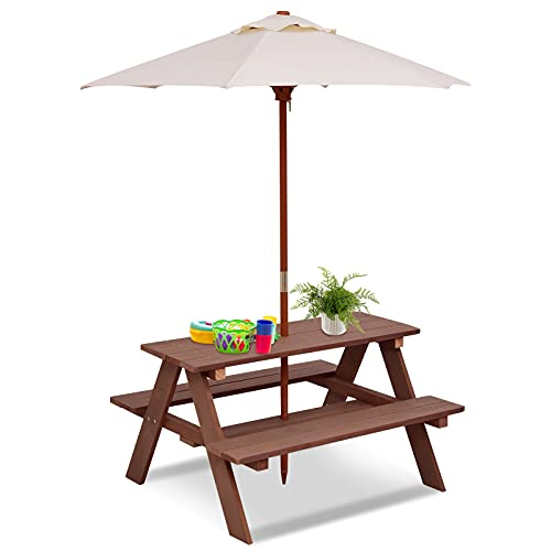 HONEY JOY Toddler Picnic Table with Umbrella, Outdoor Wooden Kids Patio Table Bench Set for Backyard & Garden, 2-in-1 Indoor Activity Play Table Set for Children Boys Girls (Natural)