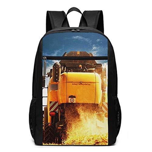 Schulrucksack Mähdrescher Nutzpflanze, Schultaschen Teenager Rucksack Schultasche Schulrucksäcke Backpack für Damen Herren Junge Mädchen 15,6 Zoll Notebook