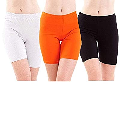 Klugger Trendy Soft & Comfortable Bio-wash Cotton Lycra Cycling Shorts/Yoga Pant/Jogging Shorts (Pack of-3) Free Size