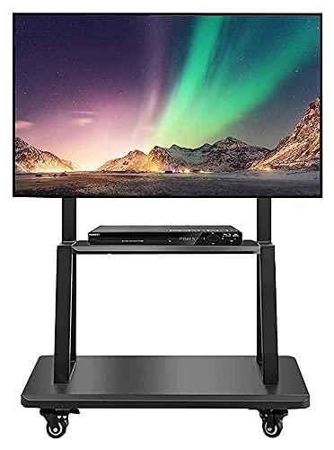 TabloKanvas Carro de TV móvil con ruedas para pantallas planas de 50 a 70 pulgadas para televisores de 55 pulgadas + con almacenamiento (color negro)
