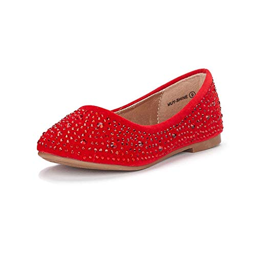 DREAM PAIRS Little Kid Muy-Shine Red Suede Girl's Mary Jane Ballerina Flat Shoes - 11 M US Little Kid