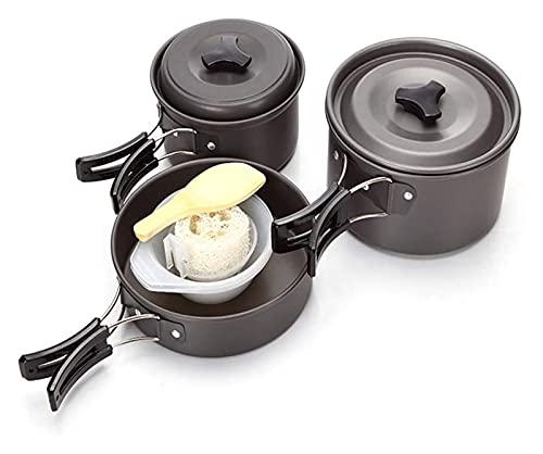LHY Camping-Kochgeschirr Camping Pot Outdoor-Koch-Set Bergsteigen-Rucksack-Geschirr-Kit für Reisen Wandern Picknick Black Picknick Utensilien