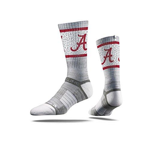 NCAA Men's Alabama Crimson Tide Strideline Crew Socks, Grey, One Size