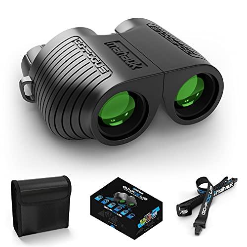 Mahauk Binoculares Prismaticos Compactos para Adultos y Niños - Con Lente Go-Focus, Auto Focus - Catalejos de Largo con Lentes de Astronomia - Prisma BAK4 de Gama Alta 10x25