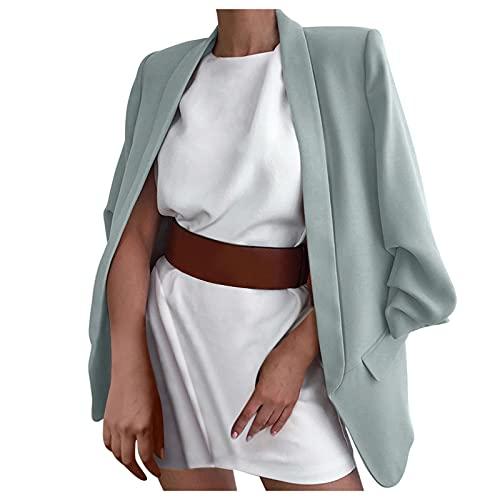 OPAKY Blazer para mujer Primavera elegante, de manga larga, de color liso, estilo clásico, tallas S-3XL, verde, XXL