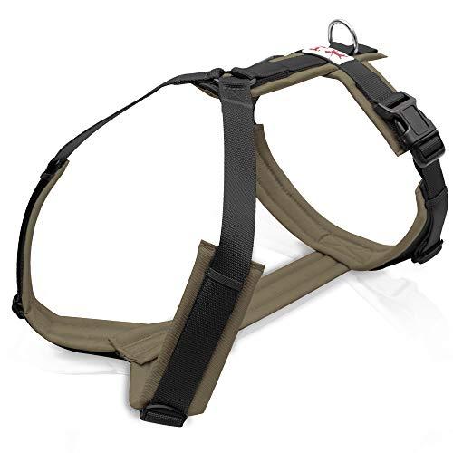 Brustgeschirr Schwarz / Olive Hundegeschirr, Unterpolstert, Verstellbar, Bewegungsfreundlich, Brustgeschirr für kleine, mittelgroße und große Hunde (M)