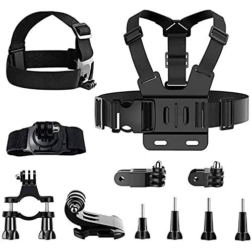 Kit di Accessori per Action Camera, 11 pezzi Accessori Action Cam, Fascia Toracica Action Cam, Fascia per la Testa per Gopro Supporto Bici per Action Cam, Accessori per Go Pro per Sport All'aperto