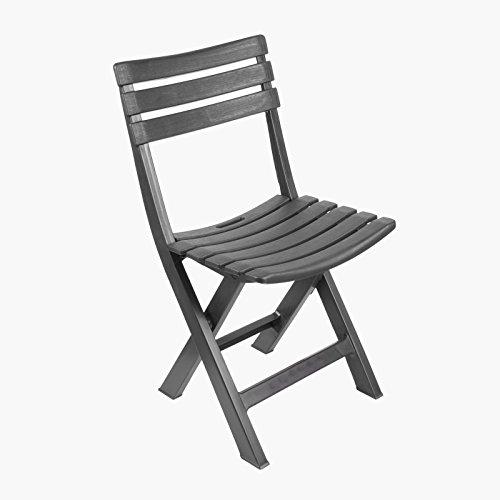 LIFEDECO Chaise Pliante Fauteuil Design en Plastique Pliant Grise Pliable Plage Camping MER pour Table Jardin