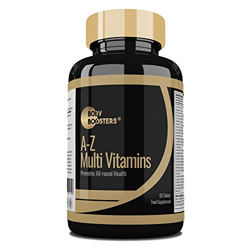 Body Boosters A-Z Multivitamins - 60 Multivitamin & Minerals Nutritional Supplements with Iron, Zinc, Vitamin D, B12 & Turmeric - Immune Support – 60 Day Supply of Tablets - Men and Women - Made in UK