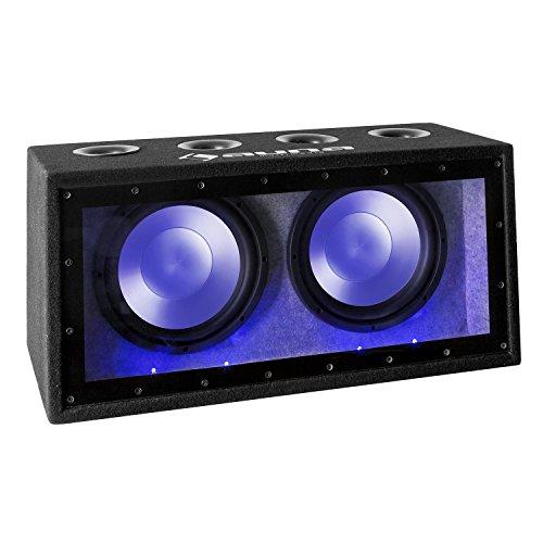 auna Cannonbeat TX12 - passiver Auto Subwoofer, Doppel-Subwoofer, 2 x 300 Watt RMS, 2 x 12 Tieftöner, Blauer LED-Lichteffekt, Filz-Beschichtung, schwarz