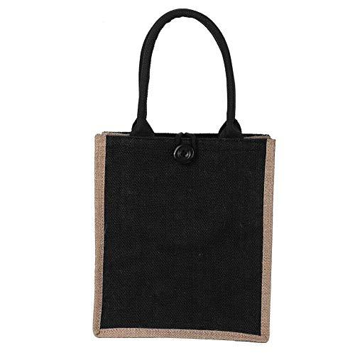 Winkeltas Outdoor Herbruikbare Hoge Capaciteit Jute Bag Vintage Retro Schouder Winkeltas Tas Grote Capaciteit Dagelijks Gebruik Zwart
