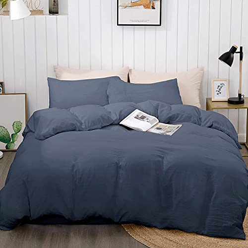 """BEDELITE Duvet Cover Queen Size, Navy Blue Bedding Full Comforter Cover, Soft Quilt Cover with Zipper Closure - 3 Pieces (1 Cover 90""""x90""""+ 2 Pillow Shams)"""