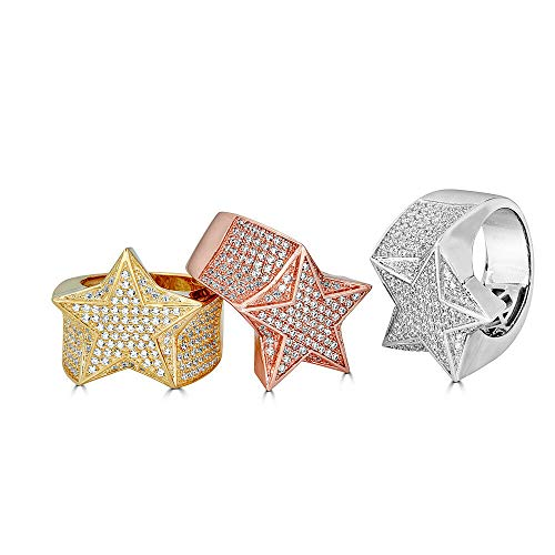 Solid 925 Sterling Silver Men's Star Ring Iced - Pinky Ring - Yellow, Rose, Or Natural Silver - ICY Hip Hop Ring