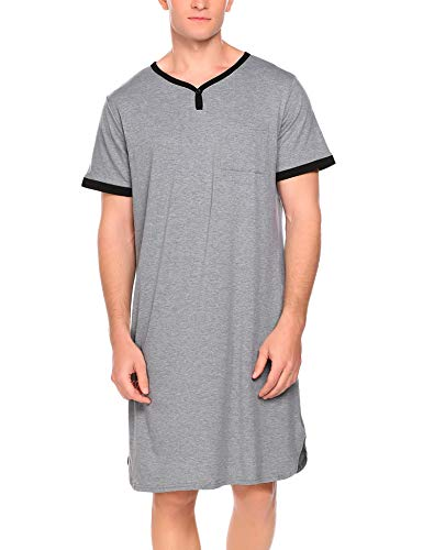 Ekouaer Mens Nightshirt Long Kaftan Nightgown Short Sleeve Sleepwear, A-grey, X-Large