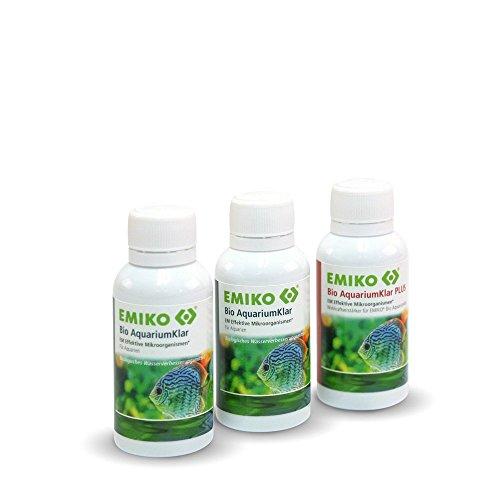 Emiko® Bio AquariumKlar Systempflege Set aus 3 x 30ml, bioaktive Reinigung von Wasser, Bodengrund und Filter