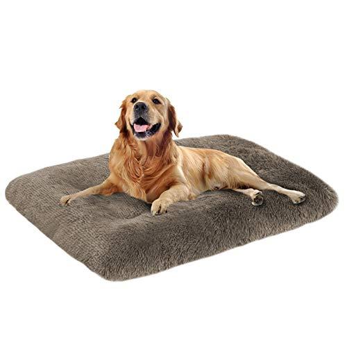 Mirkoo Hundebett, lang, Plüsch, beruhigend, bequem, Kunstfell, waschbar, Matte mit rutschfester Unterseite, für große und mittelgroße Hunde