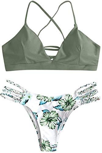 Yutdeng Damen Bikini Set Deep V Neck Triangle Verstellbarer Bikinioberteil mit Kreuzriemen und bedruckter Tanga Badeanzug im brasilianischen Stil Zweiteiliger Badeanzug Push-up Beach Wear