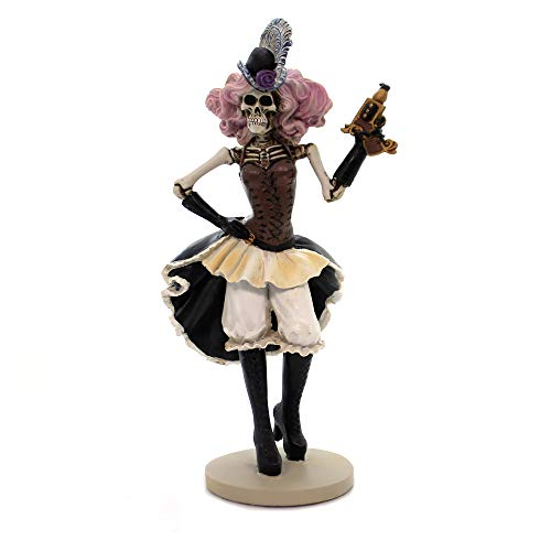 YTC Pink Haired Female Skeleton Cowgirl Steam Punk Gunslinger Collectible