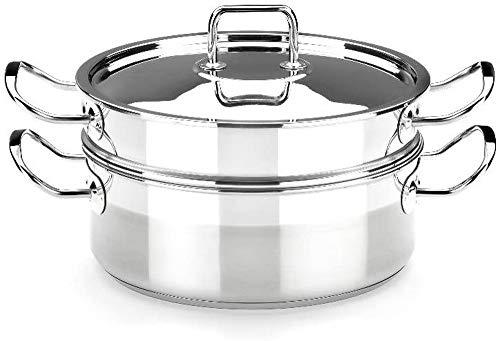 BRA Profesional - Set para cocinar al Vapor con Tapa, 24 cm, Acero Inoxidable 18/10 (A341005)
