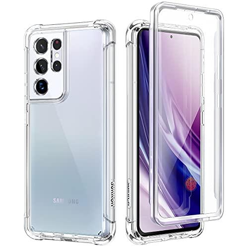 SURITCH für Samsung S21 Ultra Hülle Schutzhülle 360 Stoßfest Transparent Front Und Rückenschutz Handyhülle mit Kameraschutz TPU Bumper Eingebautem Bildschirmschutz für Samsung Galaxy S21 Ultra 6.8