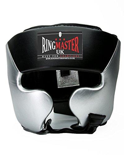 RingMasterUK - Caschetto da boxe in similpelle, colore: argento/nero, Uomo donna, HG-50005, Noir/argenté, S/M