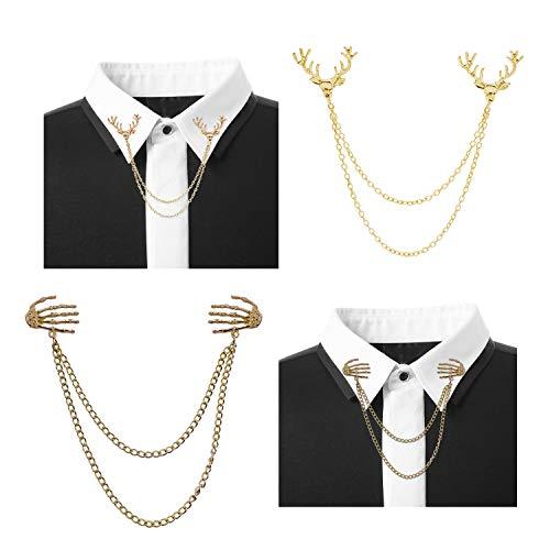 J Meng 2Pcs Deer Hand Bone Ghost Brooch Pin for Women Elk Antler Lapel Pin Shirts Collar Chain Suit Clip (Gold)