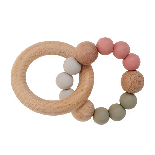 Bébé Teether de qualité alimentaire silicone Lit en bois Pram Hochet Sucette Bracelet Teether