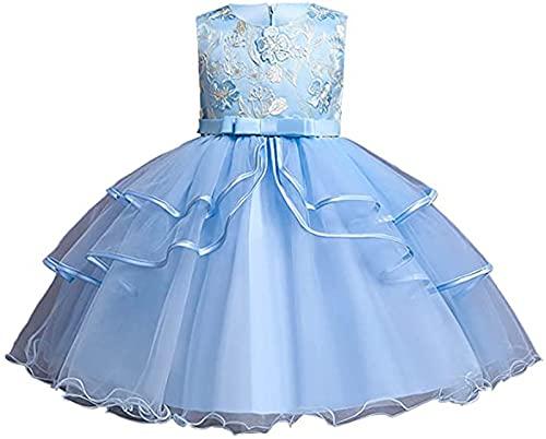 Dazzerake Vestido de princesa de tul multicapa con estampado floral para niñas, sin mangas azul claro 7-8 Años