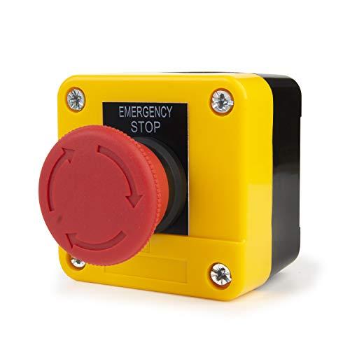 Botón de Parada de Emergéncia 660V 10A Interruptor de Botón de Seta Rojo Pulsador para Elevador Emergencia 22mm NC NO