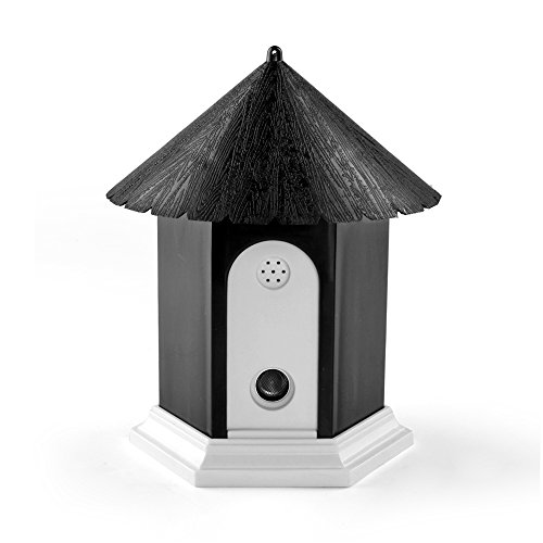 Flexzion Ultrasonic Dog Bark Control Outdoor Pet Anti Bark Deterrent Stop Barking Device Bird House Box Design Waterproof for Home Garden Hanging Battery Operated