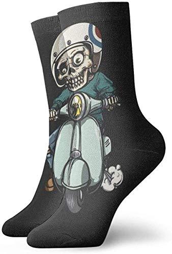 tyui7 Calcetines deportivos transpirables para hombre y para mujer Zombie Scooter Calcetines divertidos de poliéster 30 cm (11.8 pulgadas)