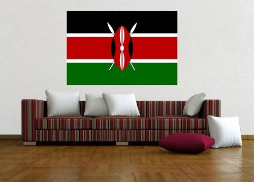 Wandtattoo Sticker Fahne Flagge Aufkleber Kenia 120 x 80cm