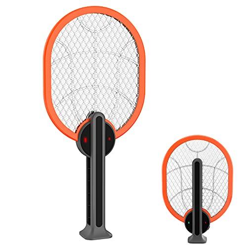Elektrische Moskito Fliegenklatsche USB Wiederaufladbar 2 in 1 Fliegenfänger Zapper Zwei Modi mit LED-Beleuchtung für Mücken, Fliegen, Bienen, Motten mit 3-lagigem...