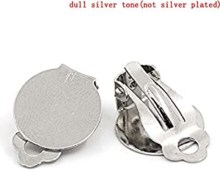 PEPPERLONELY 50pc Silver Tone Alloy Clip On Earring Findings with Round Pad, 20x15mm, (6/8