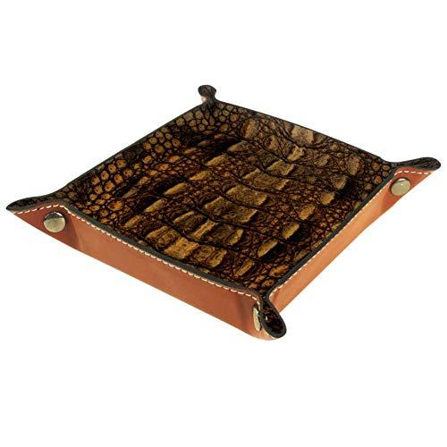 BestIdeas Cesta de almacenamiento cuadrada 20,5 x 20,5 cm, con pieles de cocodrilo, caja organizadora en la mesa para el hogar, oficina, dormitorio, Piel de microfibra., Pieles de cocodrilo, Large