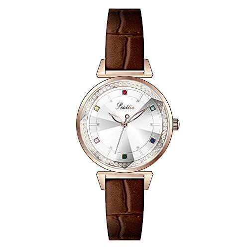 YIXINHUI Reloj de Cuarzo Personalizado Cinturón Verde Color Diamond Scale Reloj de Cuarzo Damas Rhinestone Impermeable Estudiante Moda Moda Casual Reloj (Color : Brown)